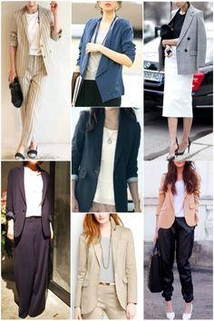 □ジャケット ・着丈長め ・ウエストは余り絞りがないもの orボックスシルエット型 ・デザイン性があるもの ・凹凸があったり特徴的な素材 □ボトムス(ジャケットに合う) ・ワイドパンツ ・スラックス ・ストレートパンツ ・ジョガーパンツ、サルエルパンツ ・膝下ストレートラインスカート Best Casual Dresses, Casual Summer Outfits, Hijab Fashion, Korean Fashion, Fashion Outfits, Fashion Ideas, Women's Fashion, Suits For Women, Clothes For Women