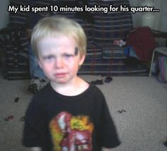 funny kid looking for a quarter