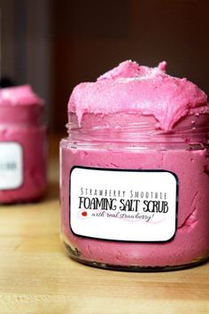 Strawberry Smoothie Foaming Salt Scrub Recipe! Learn how to make this easy spring inspired strawberry smoothie foaming whipped salt scrub recipe! It's made with real strawberry powder which is rich in polyphenols and Vitamin C and has natural skin soothing properties.
