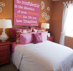 """Love the wall quote for a girls room. However I like the actual quote better. """"if one advances confidently in the direction of his dreams, and endeavors to live the life which he has imagined, he will meet with a success unexpected in common hours. . . ."""""""