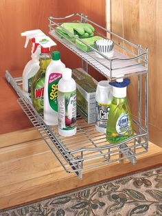 Use all the available storage under the sink. Tired of getting on your hands and knees to look for something in the back of a cupboard, only to find a jumbled mess? This rolling drawer makes it easy to neatly organize under the sink.