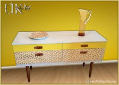 60's/70's Retro Schreiber Solid Wood Sideboard Unique Upcycled & Hand-Painted | eBay