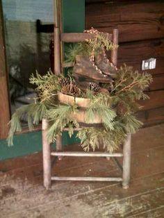 52 Adorable Christmas Porch Decoration Ideas on a Budget, Christmas Chair, Prim Christmas, Country Christmas, Outdoor Christmas, Christmas Projects, Winter Christmas, Vintage Christmas, Christmas Swags, Christmas Porch Ideas