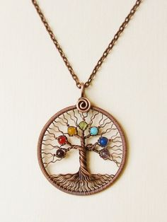 Chakra pendant Yoga Necklace Tree of Life Pendant Chakra Jewellery copper wire Family tree valentine day gift ideas for women wife gift mom - - Copper Jewelry, Wire Jewelry, Copper Wire, Jewelry Scale, Key Jewelry, Steel Jewelry, Beaded Jewelry, Jewlery, Handmade Bracelets