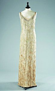Norman Hartnell cloth of gold and sequinned evening/court gown, late 1920s - early 1930s