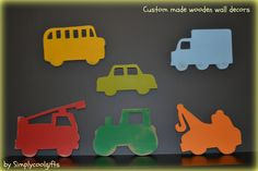 wooden wall decor, set of 6 transportation wall decor, truck wall decor, boys room decor, fire truck, school bus, tow truck, tractor, cars by socksandmonkeyhugs on Etsy https://www.etsy.com/listing/166116892/wooden-wall-decor-set-of-6