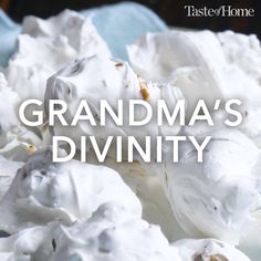 Grandmas Divinity Recipe Every Christmas my grandmother and I made divinity just the two of us I still make it every year Anne Clayborne Walland Tennessee Christmas Sweets, Christmas Cooking, Holiday Baking, Christmas Desserts, Christmas Candy, Christmas Tree, Holiday Candy, Christmas Cupcakes, Christmas Gifts