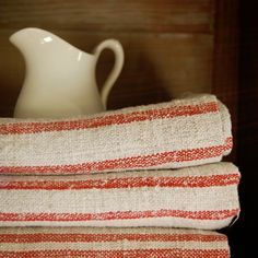 antique European grain sack, linen with red stripes