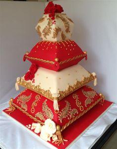 Indian Wedding Cakes, Amazing Wedding Cakes, Amazing Cakes, Wedding Henna, Wedding Unique, Desi Wedding, Wedding Stage, Pillow Wedding Cakes, Pillow Cakes