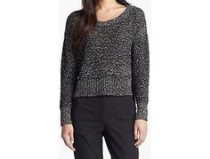 Eileen-Fisher-Sweater-XS-Black-Wrapped-Cotton-Crewneck-Speckle-New