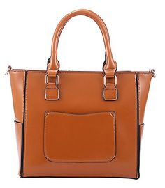 Generic Women's Tote Brown Leather Handbag Medium >>> Click image to review more details.