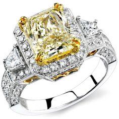 14k White and Yellow Gold Fancy Yellow Three Stone Diamond Engagement Ring - 14k White and Yellow Gold Fancy Yellow Three Stone Diamond Engagement Ring