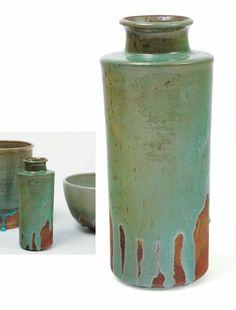 Gertrud Vasegaard Vase en céramique émaillée brun/vert avec coulées dans