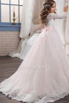 b65fca2a32d Custom Made Scoop Neck Sweep Train Lace and Tulle Flower Girl Dress First  Communion Dresses 2017
