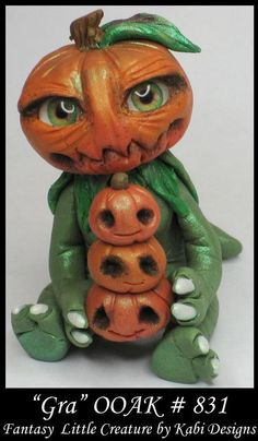 Fantasy Collectible miniature Cute Pumpkin Creature DollHouse Polymer Clay OOAK #KabiDesigns