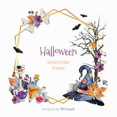 Ornamental frame with watercolor halloween elements Free Vector Halloween Illustration, Cute Illustration, Watercolor Illustration, Halloween Frames, Halloween Clipart, Halloween Art, Happy Halloween, Halloween Templates, Witch Craft