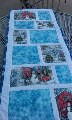 table runner pattern, table runner wedding quilted snowman table runner by lidia Quilted Table Runners Christmas, Table Runner And Placemats, Quilt Table Runners, Christmas Runner, Table Topper Patterns, Quilted Table Toppers, Table Runner Tutorial, Table Runner Pattern, Snowman Quilt