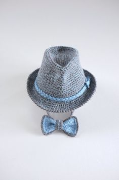 Tweed Baby Fedora and Bow Tie Set Newborn Photo Props by milazshop Newborn  Crochet 809ddbad24f