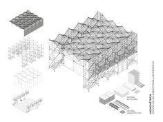 """Galería de EUPE, uno de los 10 proyectos ganadores del CNPT 2016 - 4 - Pensada para las múltiples catástrofes naturales que enfrenta Chile, la propuesta universitaria consiste en un sistema de espacios comunitarios temporales """"a partir de andamios estándar de construcción [dando] una respuesta que sea local, económica, liviana, móvil, temporal, de fácil montaje y desmontaje, prefabricada, adaptable y flexible"""". Kinetic Architecture, Timber Architecture, System Architecture, Architecture Student, Architecture Drawings, Architecture Details, Art Studio Design, Space Frame, Beauty Salon Design"""