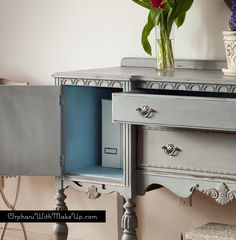 An antique sideboard finished with a layered finish of Paris Grey & Graphite Chalk Paint® decorative paint by Annie Sloan with Louis Blue mixed with Old White for the inside | By Orphans with Makeup