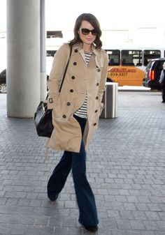 Margot Robbie in a Burberry trench coat at LAX airport