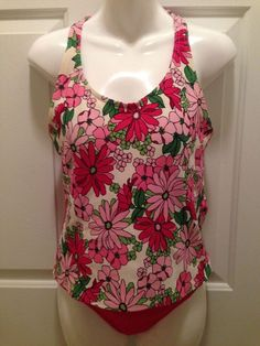 Lands' End Women's 12 Long Tankini Set Pink Floral Swim Beach Cruise Green  #LandsEnd #Tankini