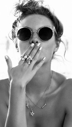 LE FASHION BLOG JEWELRY STARS HEARTS CAMILLE ROWE NORDSTROM CATALOG ROUND CAT EYE SUNGLASSES METALLIC SILVER NAILS MANICURE MESSY UP DO BUN ...