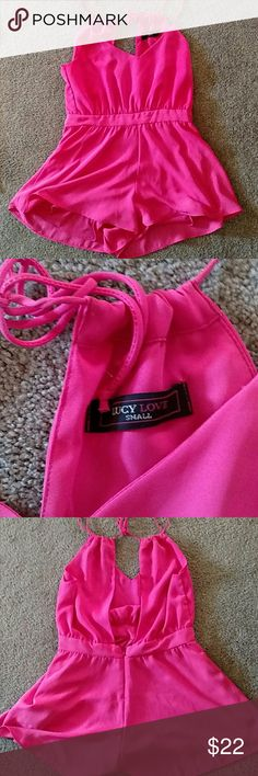 Hot pink romper Lucy Love 100% polyester lined romper. Worn twice. Impulse buy. Too short for me. Heads turned when I walked into the room!! Other