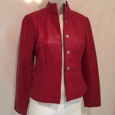 "Red Leather Jacket by i.e Red genuine soft leather women's jacket. Never been worn. The chest size is 16"", the waist is 14.5"", length of jacket 21"" and sleeve length is 22.5"". Frontal measurements only. PLEASE NOTE: This is Petite Extra Small. I.e. Jackets & Coats"