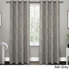 """ATI Home Kilberry Woven Blackout Grommet Top Window Curtain Panel Pair (""""Kilberry 96"""""""" Ash Grey""""), Grey, Size 96 Inches (Polyester, Floral)"""