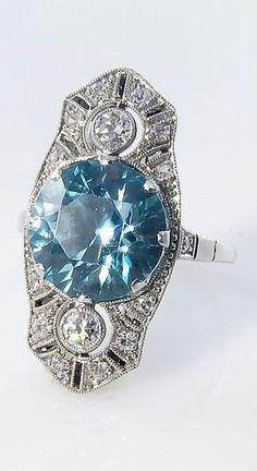 Art Deco Blue Zircon & Diamond Ring - April 13 2019 at Art Deco Schmuck, Bijoux Art Deco, Schmuck Design, Art Deco Jewelry, Gems Jewelry, Sea Glass Jewelry, Pandora Jewelry, Fine Jewelry, Jewelry Design