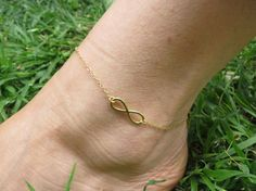 Anklet Bracelet Gold ankle Infinity anklet by HLcollection on Etsy, $25.00