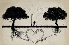 Two trees in front of each other with underground roots growing together in shape of a heart and a couple hugging in the middle. Relationship love and togetherness concept