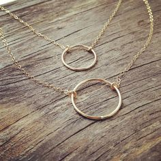 Gold Filled Circle Rings Necklace Double Rope by cocowagner
