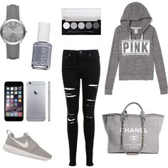 break day by alexia7528 on Polyvore featuring polyvore fashion style Miss Selfridge NIKE Chanel Burberry Essie