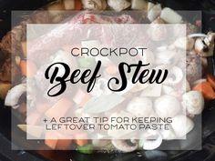 crockpot beef stew Blade Roast, Stuffed Mushrooms, Stuffed Peppers, Beef Broth, Tomato Paste, Wonderful Things, Stew, Crockpot, Slow Cooker