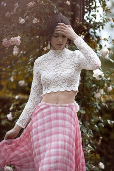 Crop top, midi skirt, pink, flowers, crop top outfits, crop top and maxi skirt