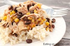Easy salsa chicken recipe can be tossed into the crockpot in minutes. Serve it on rice or in a tortilla to make a burrito. Either way it is delicious!