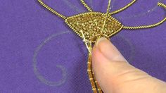 Hand Embroidery - Goldwork tutorial. Part 4 - couching gold threads. - YouTube