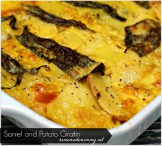 Potatoes and Sorrel Au Gratin ~ Sorrel is a perennial herb and can easily be grown in a backyard container herb garden. Sorrel is used to flavor soups and sauces and can also be added to salads. Healthy Potato Recipes, Clean Recipes, Healthy Dinner Recipes, Real Food Recipes, Vegetarian Recipes, Lunch Box Recipes, Side Dish Recipes, Side Dishes, Healthy Cooking