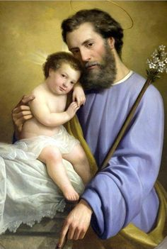 """Saint Joseph, also referred to as Joseph the Betrothed and as Joseph of Nazareth, was the foster-father of Jesus, according to the New Testament (Matthew 1:16; Luke 3:23). Not much is known of Joseph's life on Earth, except that he was """"of the House of David"""" and lived in the town of Nazareth. His date of death is unknown, though he was still living when Jesus was twelve years old."""
