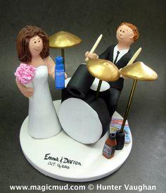 Drummer with Jack Daniels Whiskey Wedding CakeTopper http://www.magicmud.com  $235  1 800 231 9814 email  magicmud@magicmud.com  http://blog.magicmud.com  https://twitter.com/caketoppers         https://www.facebook.com/PersonalizedWeddingCakeToppers #wedding #cake #toppers  #custom #personalized #Groom #bride #anniversary #birthday#weddingcaketoppers#cake toppers#figurine#gift#wedding cake toppers #drummer#drumming#drum#percussionist#rocknroll#rockStar#rockGod#musician