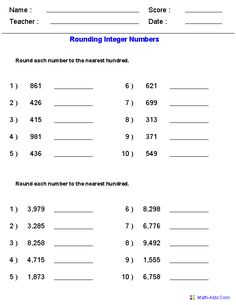 Rounding Worksheets for Integers ;)