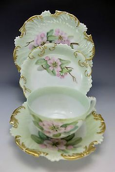 1895 T&V Limoges 4pc Tea Cup Saucer Set Hand Painted Pink Apple Blossom Plate