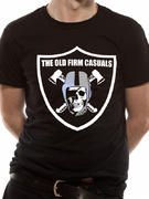 Officially licensed The Old Firm Casuals t-shirt design printed on a Black 100% cotton short sleeved T-shirt.
