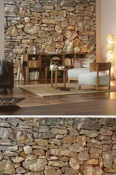 tapete mit bruchstein optik und holzboden haus random pinterest holzboden tapeten und. Black Bedroom Furniture Sets. Home Design Ideas