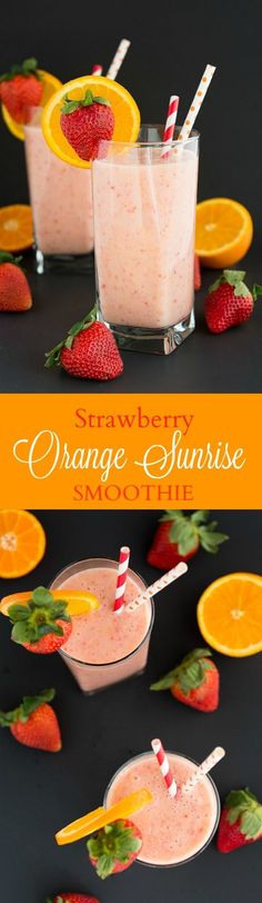 Orange Sunrise Smoothie - Garnish & Glaze Start your day with a healthy and refreshing Strawberry Orange Sunrise Smoothie.Start your day with a healthy and refreshing Strawberry Orange Sunrise Smoothie. Smoothie Fruit, Yummy Smoothies, Smoothie Drinks, Yummy Drinks, Healthy Drinks, Yummy Food, Healthy Recipes, Healthy Detox, Detox Drinks