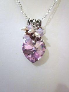 Valentines Day - Light Vitrail Swarovski Heart Crystal Pendant Necklace