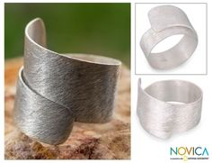Artisan Crafted Modern Sterling Silver Band Ring - Cool Autumn   NOVICA