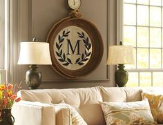 monogram on round mirror